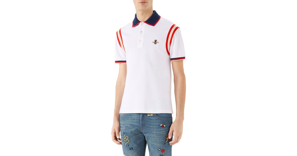 471de153999fc5 Lyst - Gucci Bee Detail Polo Shirt in White for Men