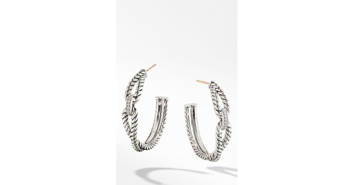 6a9f80fa4 David Yurman Cable Loop Hoop Earrings With Diamonds - Lyst