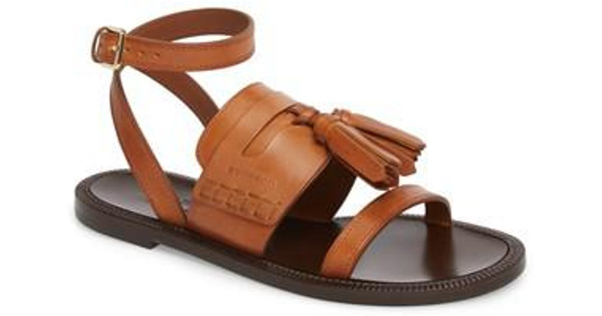 e59539091fbe Lyst - Burberry Bethany Tassel Flat Sandal in Brown