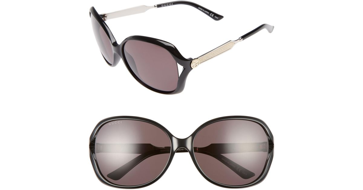 ee23f44971485 Lyst - Gucci 60mm Open Temple Oval Sunglasses