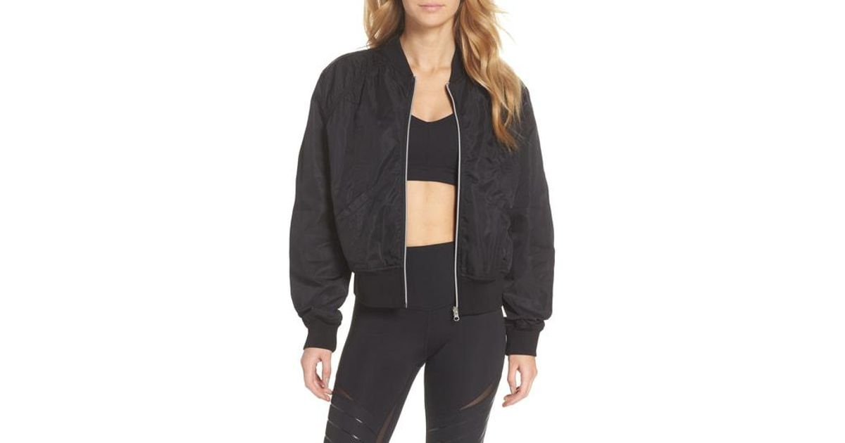 a2e076de41e6 Lyst - Zella Luxury Bomber Jacket in Black