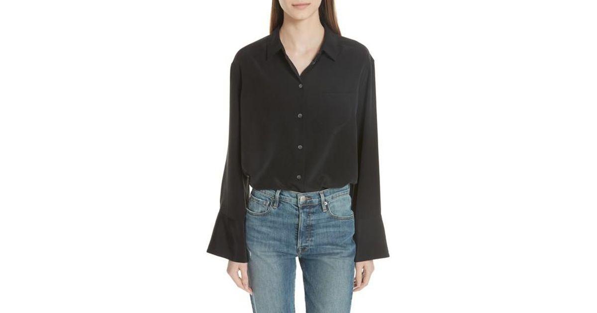 049c2b731165f9 Lyst - Equipment Coco Bell Sleeve Silk Blouse in Black