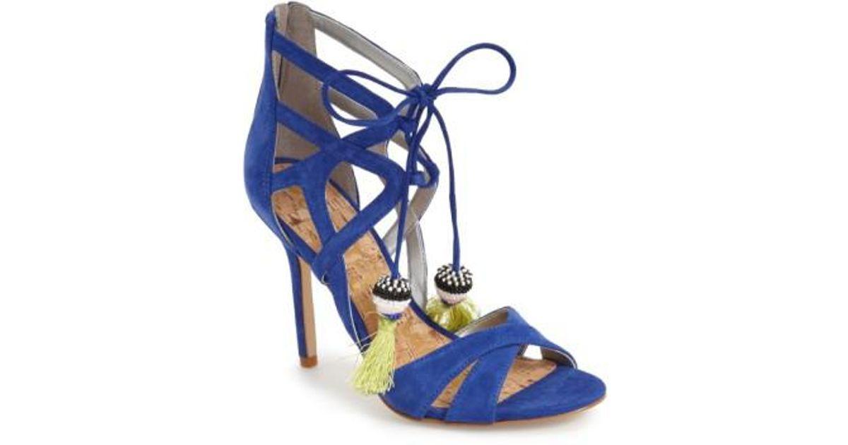 97cc14b60 Lyst - Sam Edelman  azela  Tassel Lace-up Sandal in Blue