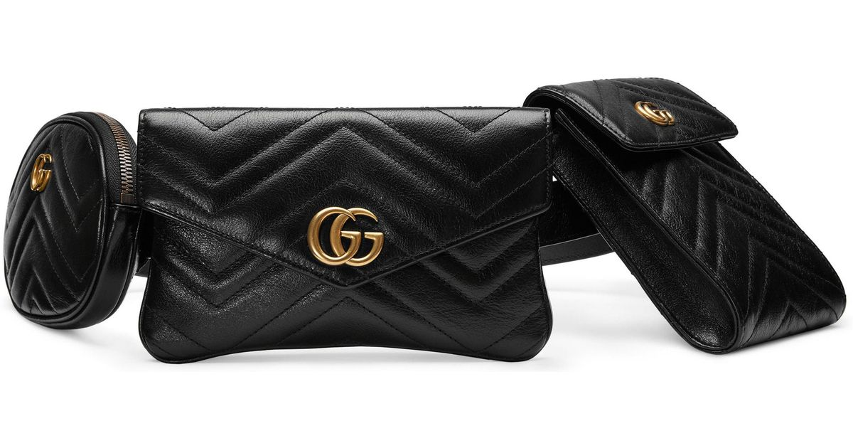 f7bdce278c58 Gucci Gg Marmont 2.0 Matelasse Triple Pouch Leather Belt Bag in Black - Lyst