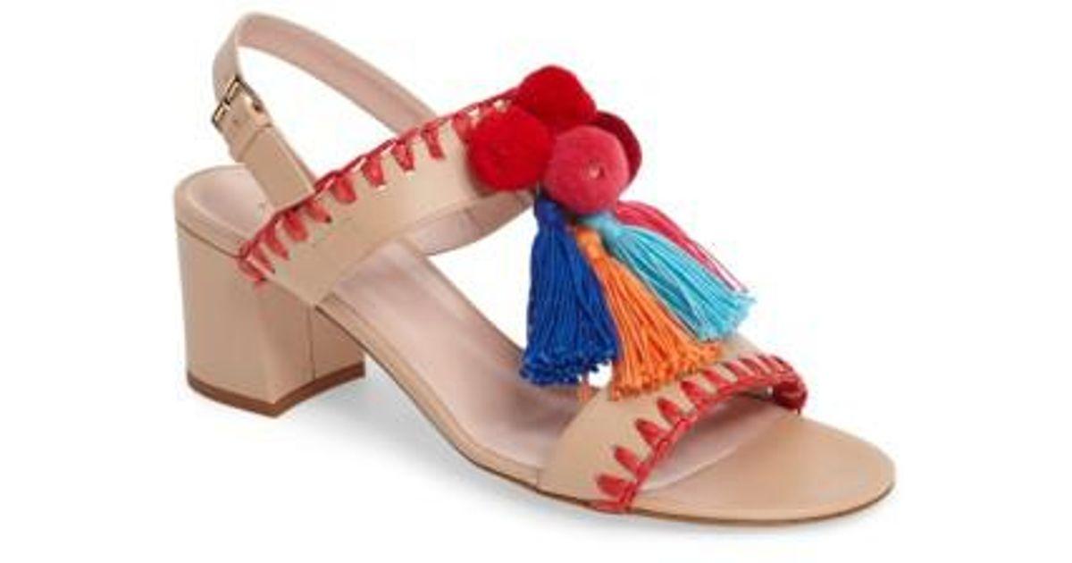 f2002741ec47 Lyst - Kate Spade Mcdougal Pom Tassel Sandal in Red