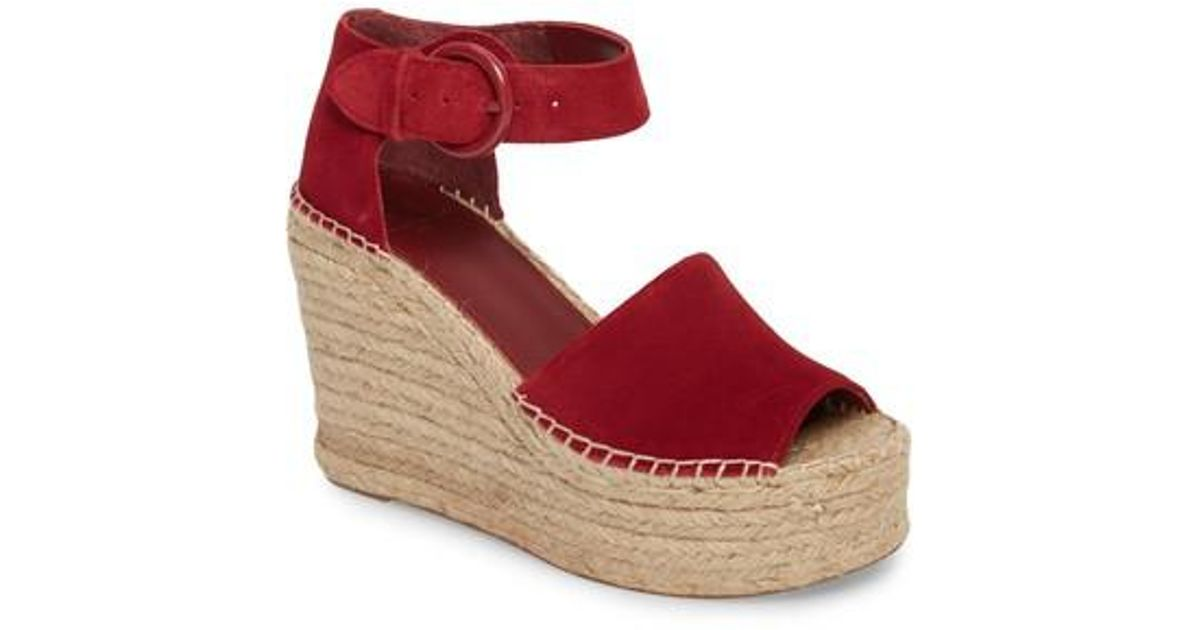 e45f45373aa Lyst - Marc Fisher Alida Espadrille Platform Wedge in Red