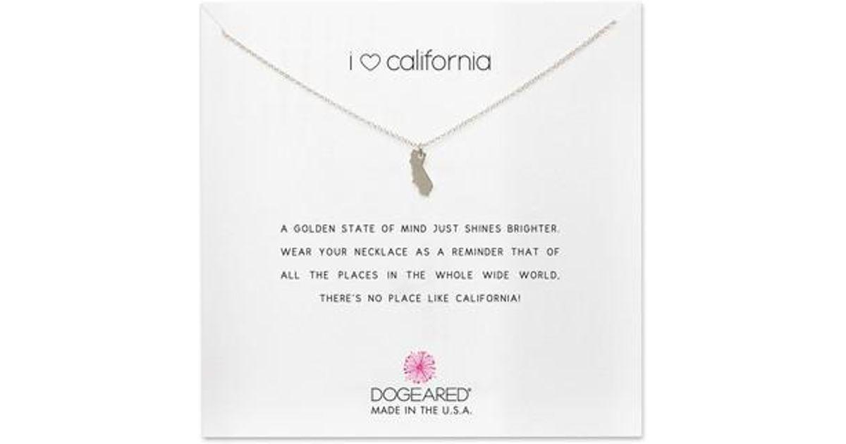 Lyst dogeared i heart california pendant necklace in metallic aloadofball Choice Image