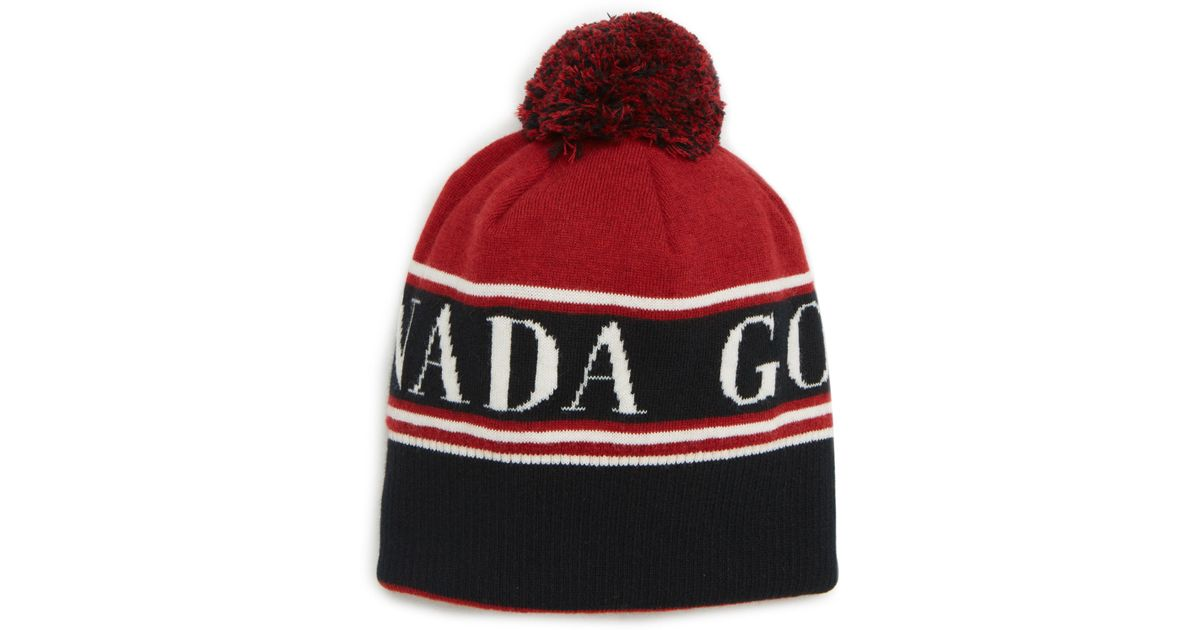 Lyst - Canada Goose Pom Merino Wool Beanie in Red for Men 9b9930197a3