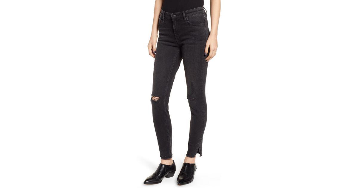 731762c7351 Lyst - Vigoss Marley Studded Hem Skinny Jeans in Black - Save  40.54054054054054%