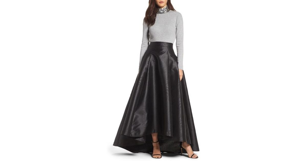 2f6fcf941a1 Lyst - Eliza J High low Moire Taffeta Ball Skirt in Black