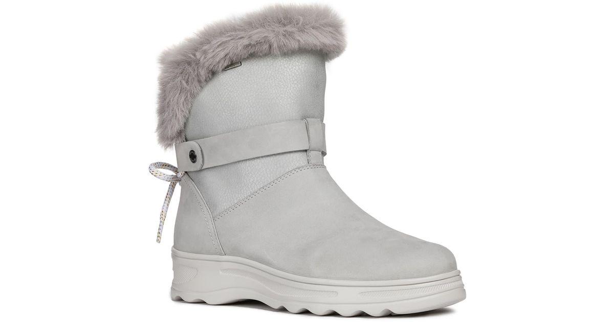 Geox Gray Hosmos Abx Waterproof Faux Fur Trim Boot Lyst