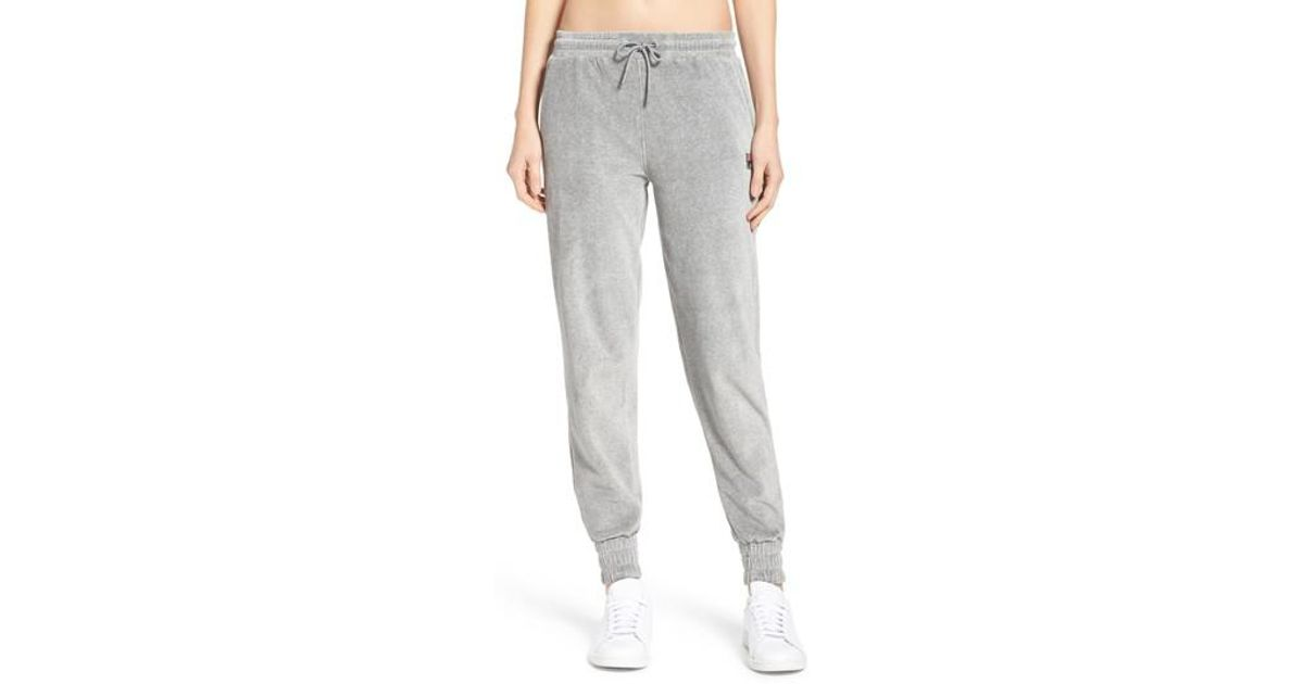 19657357 Fila Jodi Velour Jogger Pants in Gray - Lyst