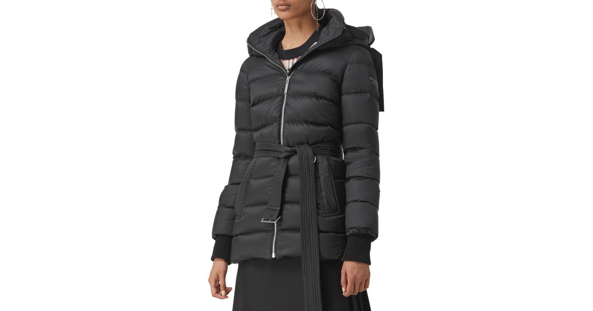 6d3f35e05 Burberry - Black Limehouse Mid-length Puffer Coat With Detachable Hood -  Lyst
