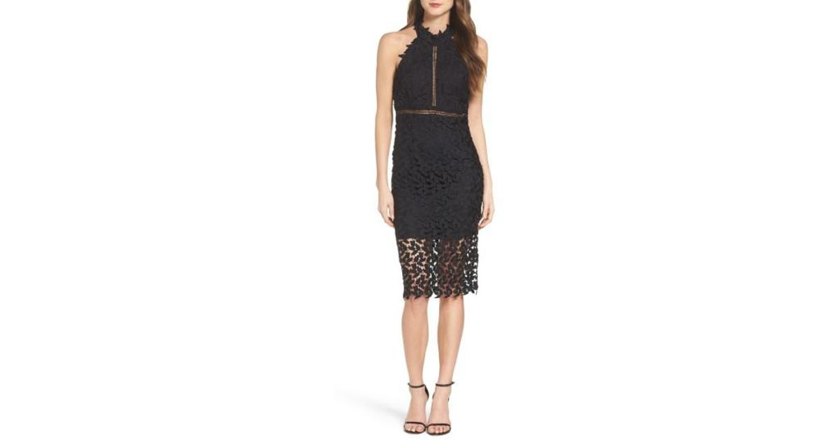 Bardot Black Gemma Halter Lace Sheath Dress Lyst