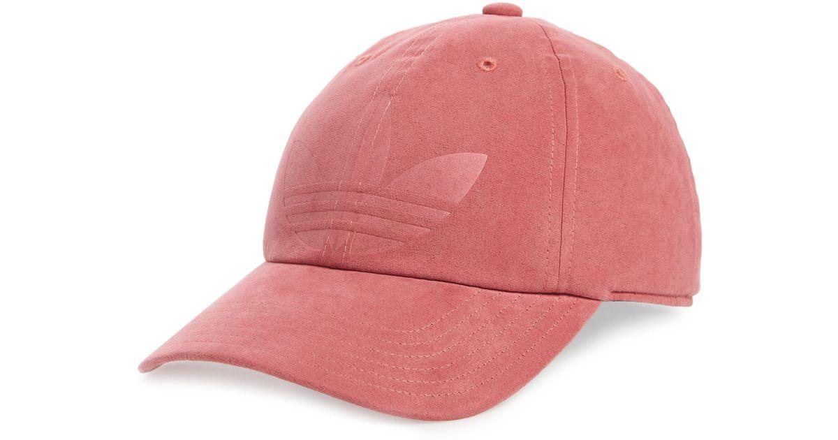 Lyst - adidas Originals Relaxed Debossed Cap in Pink c1418ce4bc43