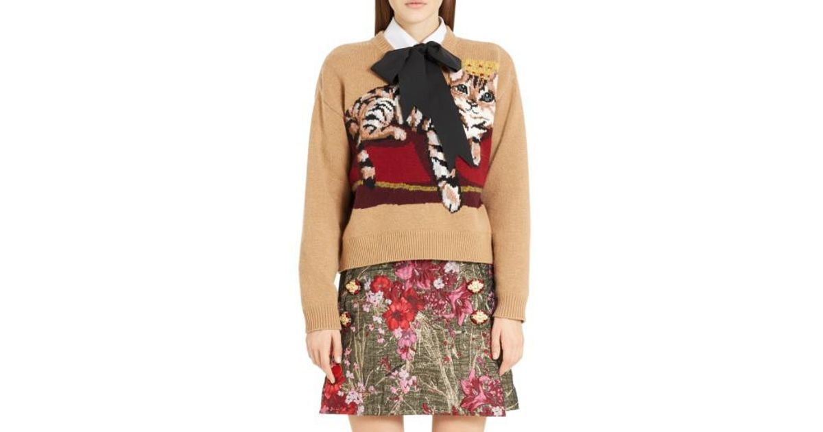 a0d5997630a496 Lyst - Dolce & Gabbana Cat Intarsia Cashmere, Wool & Mohair Blend Sweater  in Red