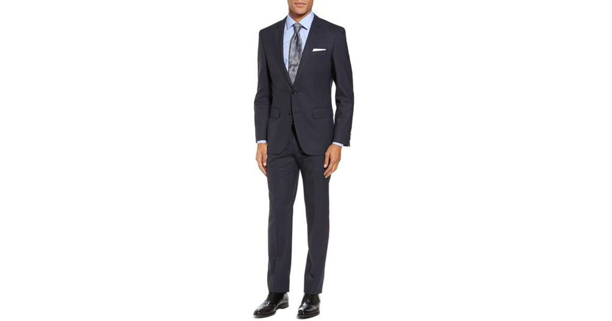 101c742d6 Lyst - Boss Boss Huge/genius Trim Fit Check Wool Suit in Blue for Men