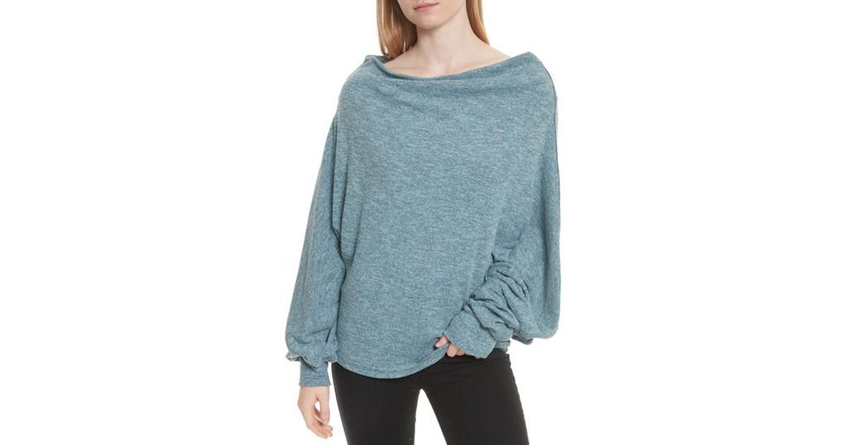 e5580b0c05937 Lyst - Free People Skyline Thermal Off The Shoulder Tee in Blue