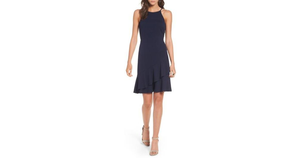 1cfb4567badbe Soprano Ruffle Hem Knit Dress in Blue - Lyst