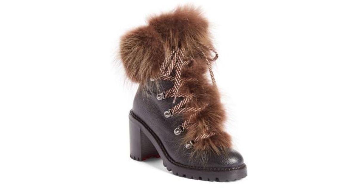 94fb57844f1 Lyst - Christian Louboutin Fanny Genuine Raccoon Fur Boot in Brown
