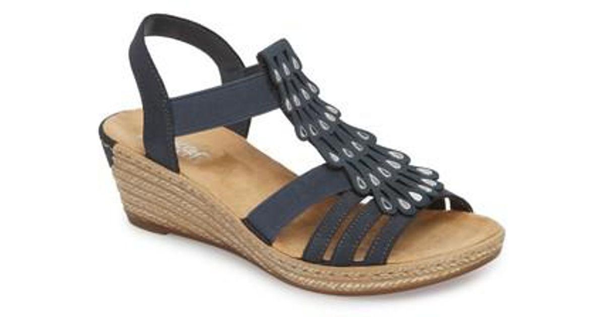 ded2072db12 Lyst - Rieker Antistress Fanni 36 Espadrille Wedge Sandal in Blue