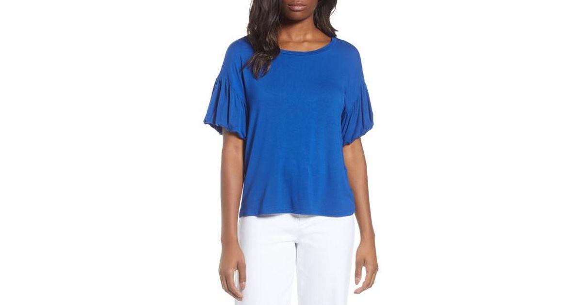 30cece74aff Lyst - Bobeau Knit Bubble Sleeve Tee (regular   Petite) in Blue
