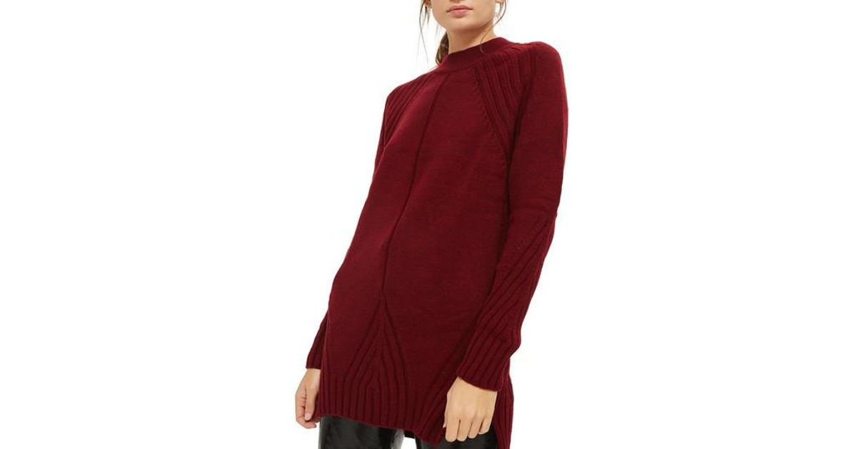 5a49f65f2c Lyst - TOPSHOP Knit Detail Sweater Dress in Red