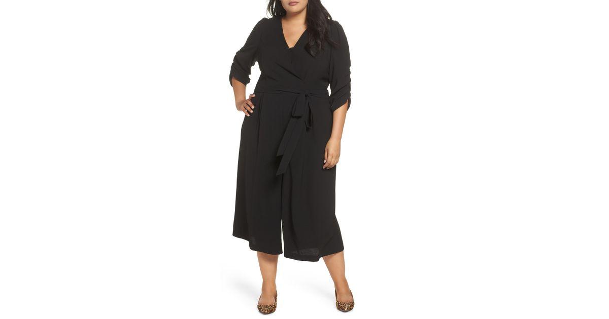 d4721e29d36 Lyst - Eliza J Surplice Ruched Sleeve Wide Leg Jumpsuit (plus Size) in  Black - Save 37%