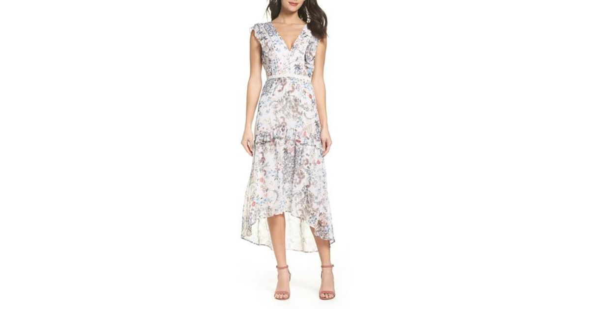 12ad11a1c7c Chelsea28 Printed Hi-lo Midi Dress in White - Lyst