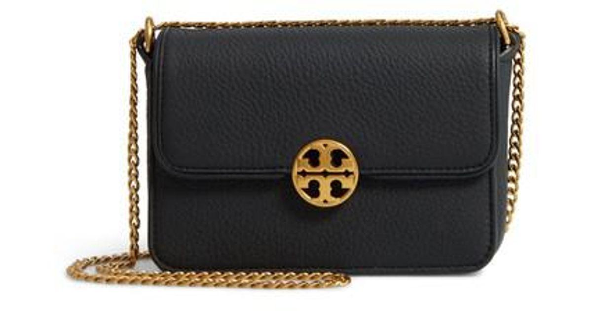 9214d0e79ae Lyst - Tory Burch Mini Chelsea Leather Convertible Crossbody Bag in Black