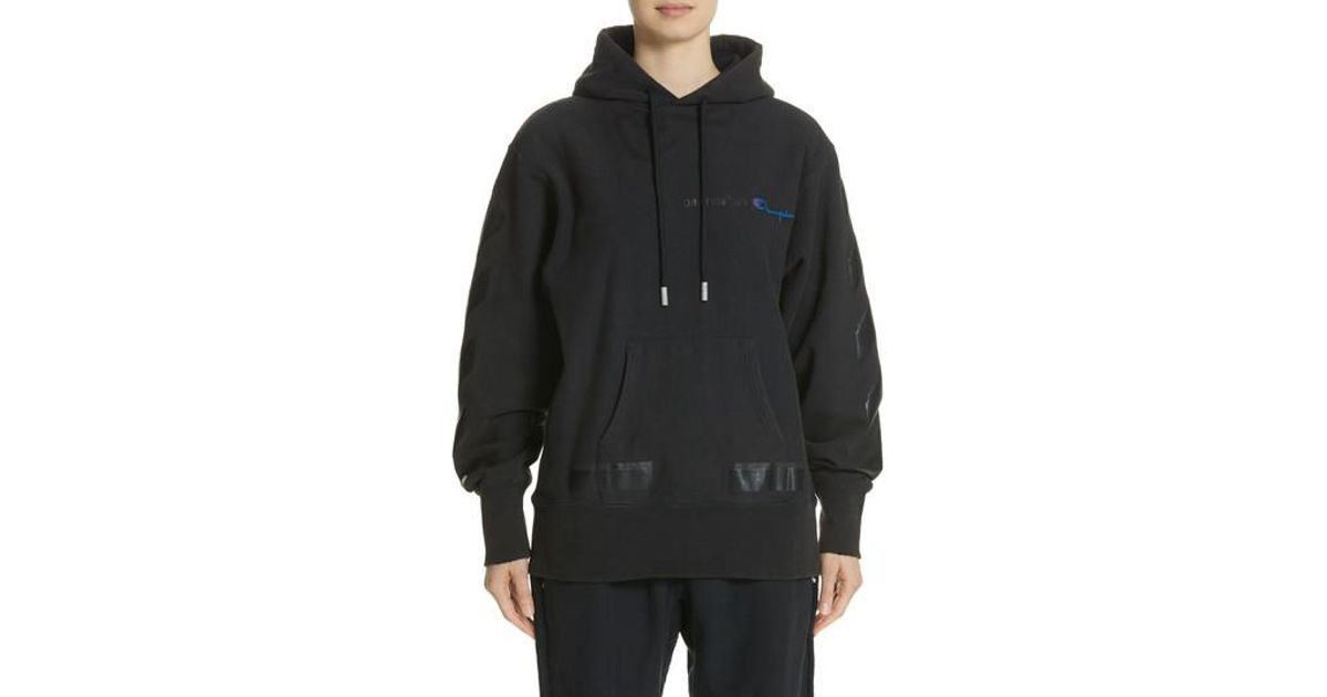 Lyst - Off-White c o Virgil Abloh X Champion Pullover Hoodie in Black for  Men ae71cfd36