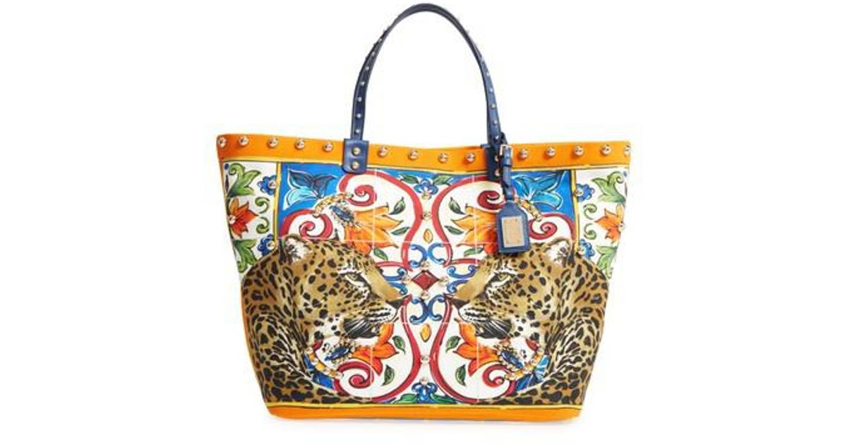 Lyst - Dolce   Gabbana Maiolica Canvas Tote - in Blue e4bee59f31a68