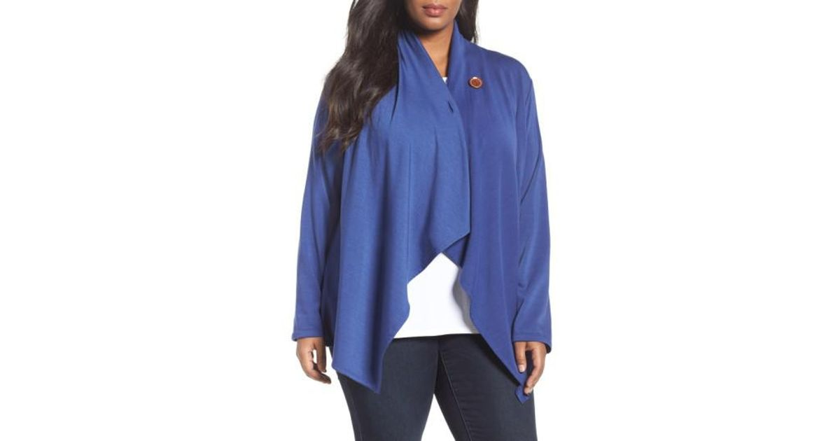 Bobeau One-button Fleece Cardigan in Blue | Lyst