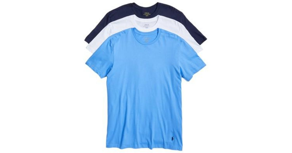 b1d9fc636 Polo Ralph Lauren 3-pack Classic Fit Crewneck T-shirt, None in Pink for Men  - Lyst