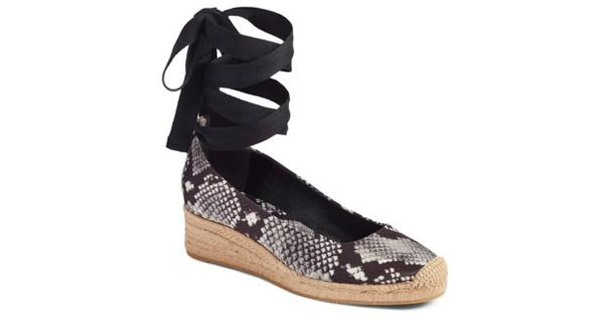 4c1e6104bed Lyst - Tory Burch Heather Ankle Wrap Espadrille Wedge in Black