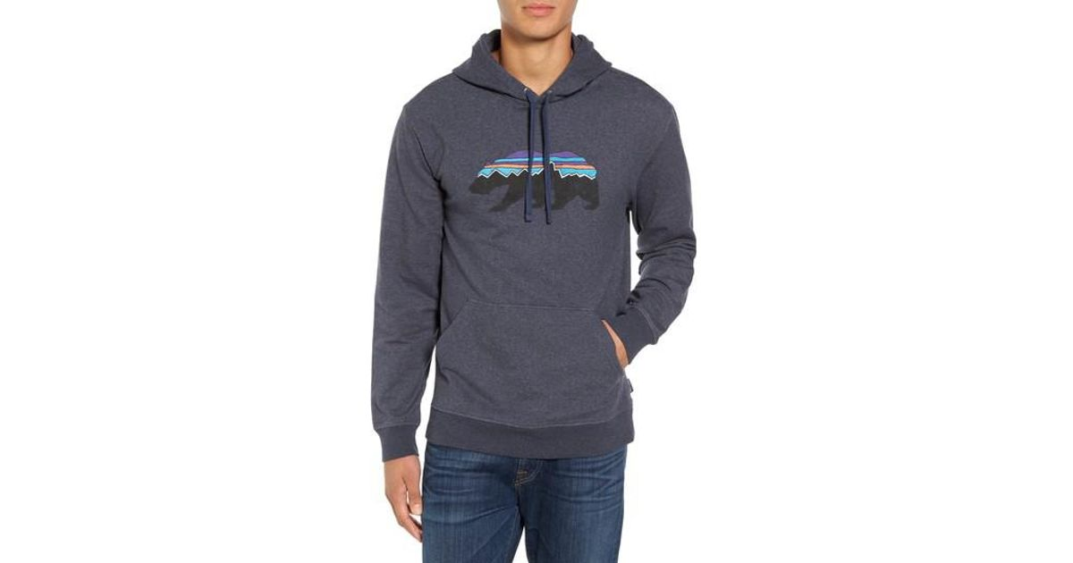 Lyst - Patagonia Fitz Roy Bear Graphic Hoodie in Blue for Men 354dc990f12
