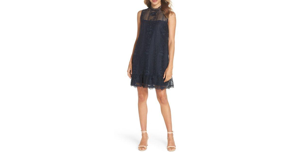 abaa7d0670b Lyst - BB Dakota Sheri Mock Neck Sleeveless Lace Mini Shift Dress in Blue