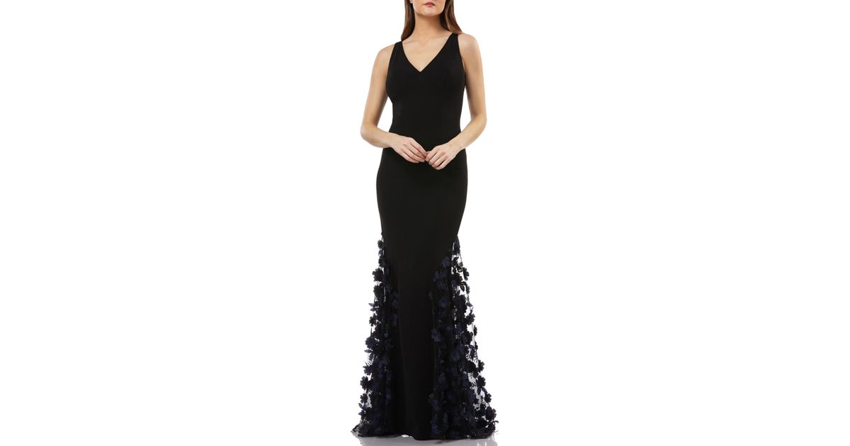 7af77db23239f Carmen Marc Valvo 3d Floral Skirt Mermaid Gown in Black - Lyst