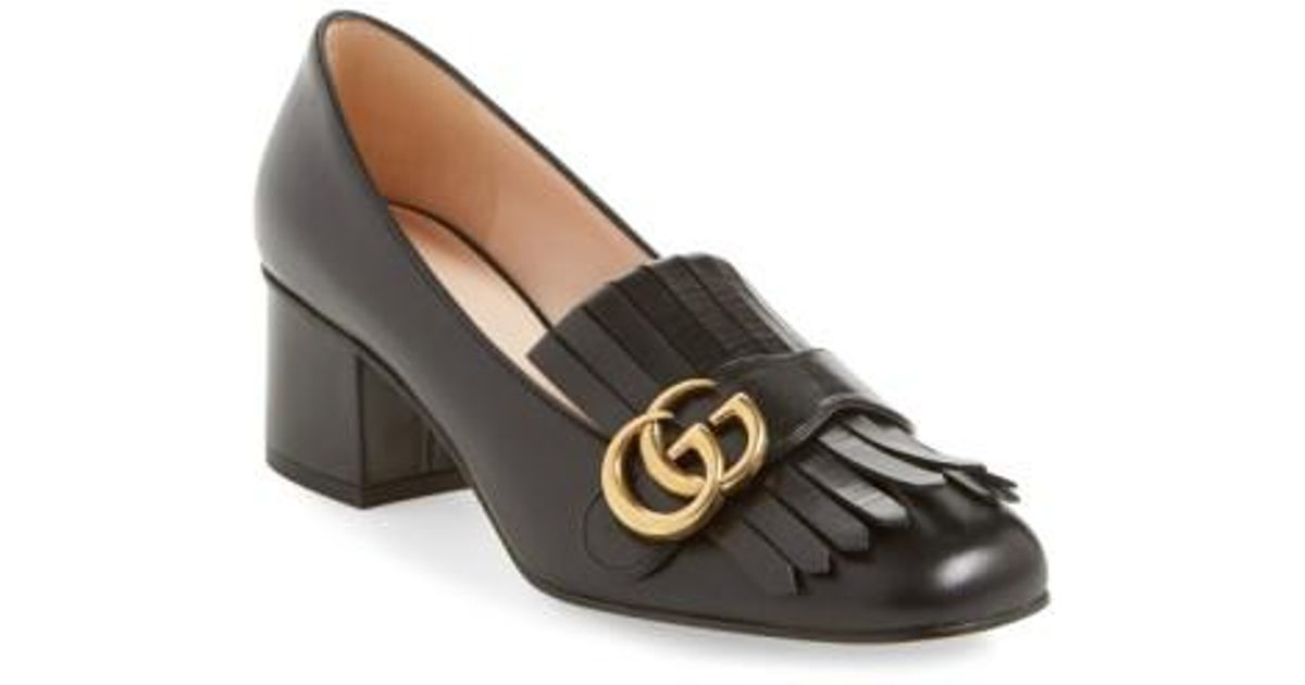 72294af0213 Lyst - Gucci Marmont Leather Pumps in Purple - Save 84%