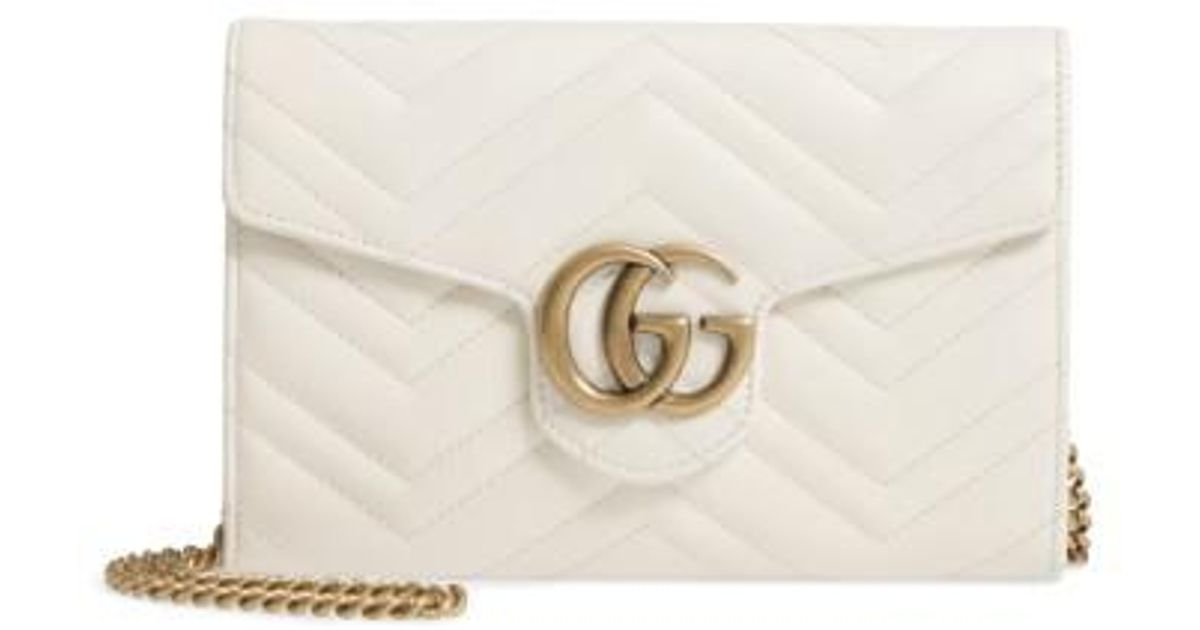73d5de511 Gucci Gg Marmont 2.0 Matelasse Leather Wallet On A Chain in White - Lyst