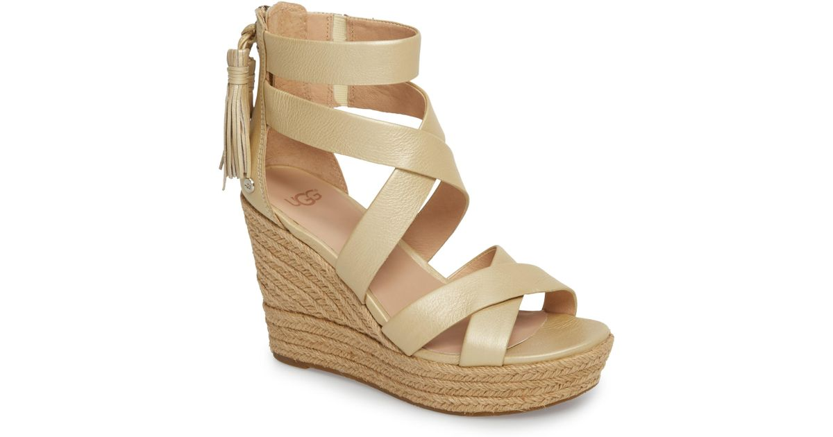 94a387ecae5 Lyst - UGG Ugg Raquel Platform Wedge Sandal in Metallic