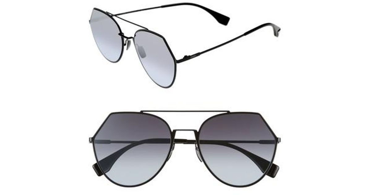 3acc2d7a320 Lyst - Fendi Eyeline 55mm Sunglasses in Black