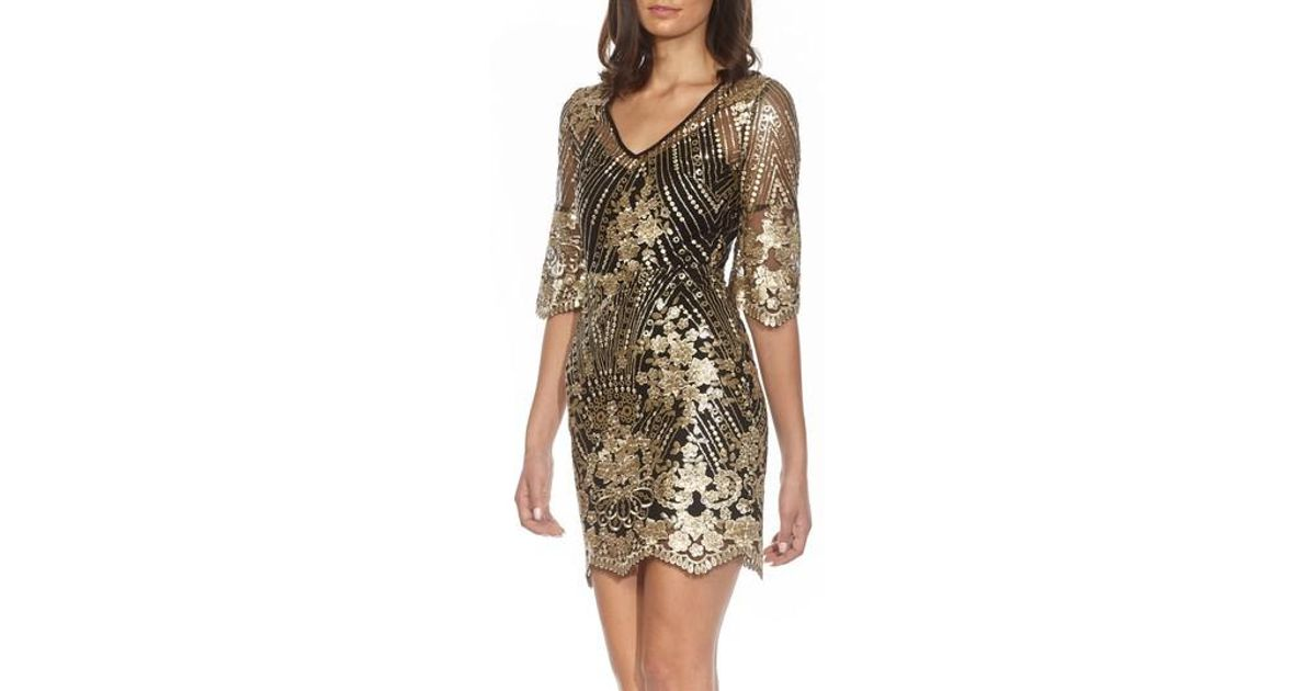 592f4d40 TFNC London Casey Sequin Embroidered Minidress in Metallic - Lyst