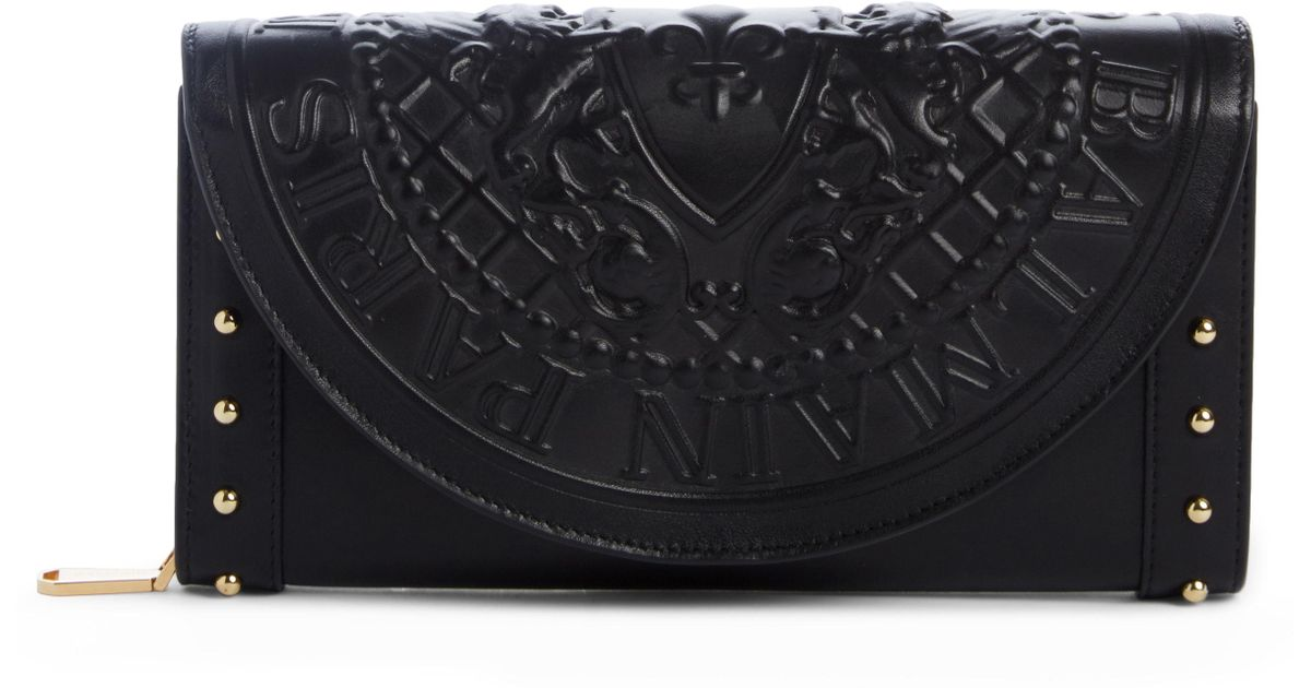 819898a250c Lyst - Balmain Renaissance Leather Wallet On A Chain in Black
