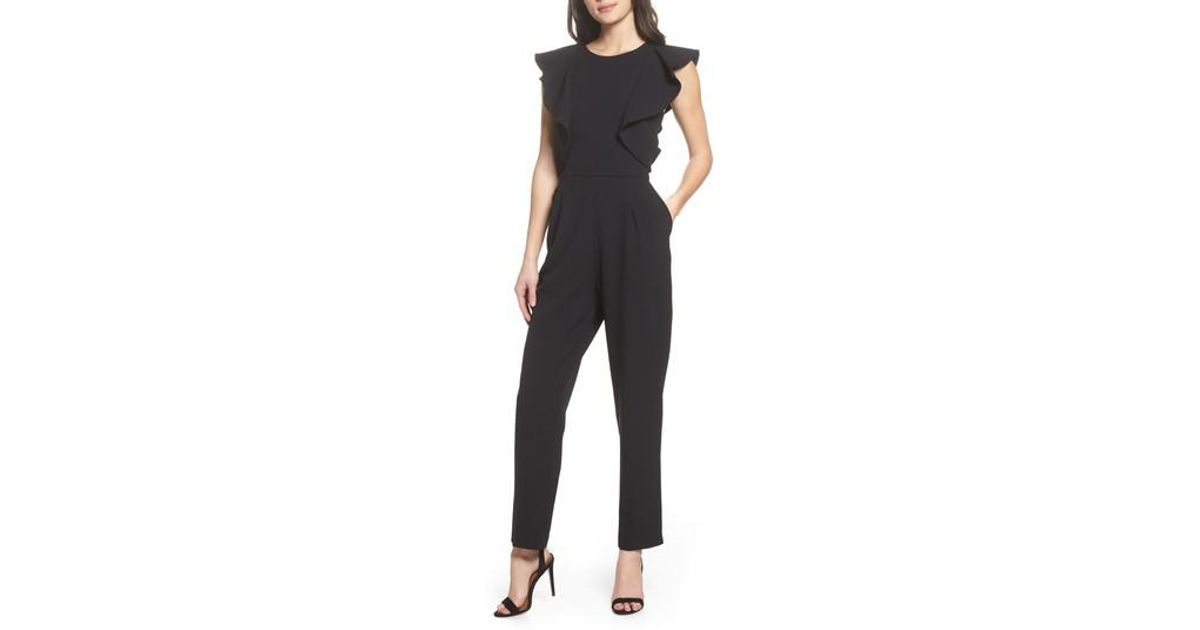 5a915f5bdfb9 Chelsea28 Ruffle Jumpsuit in Black - Lyst