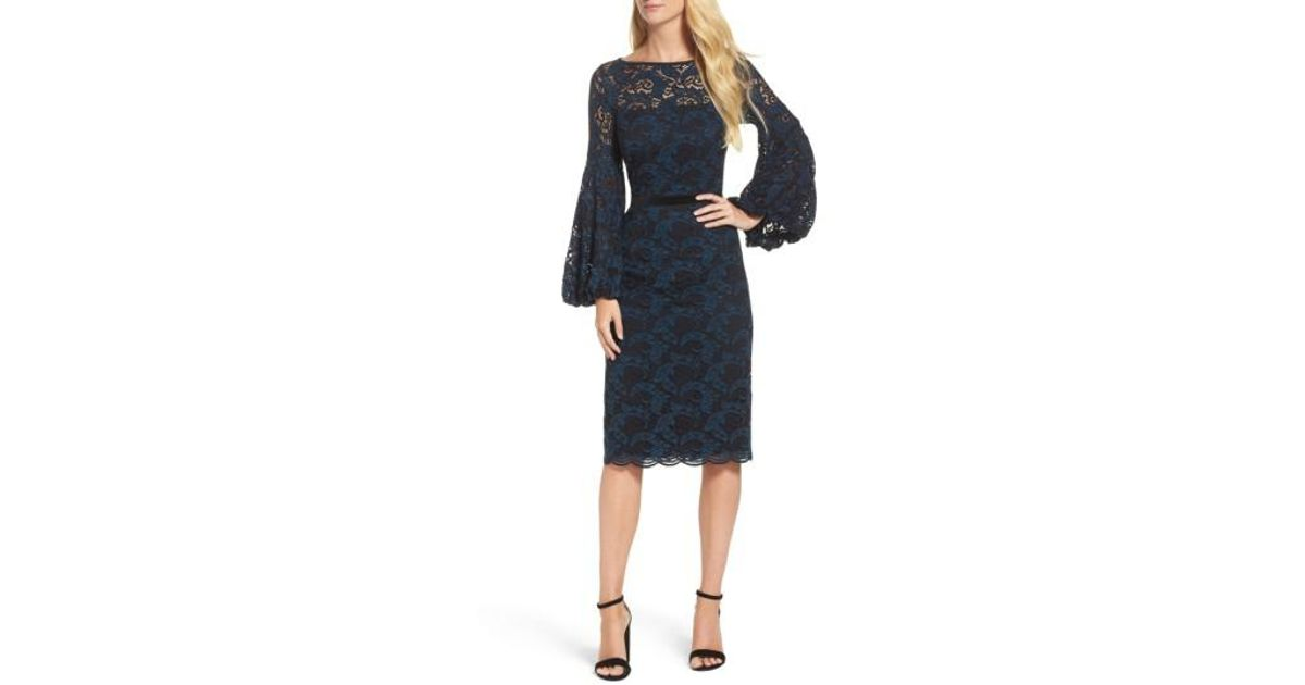 aa87b062 Lyst - Maggy London Lace Bishop Sleeve Dress in Black