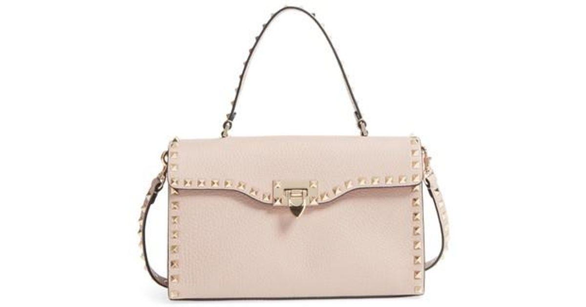 Lyst - Valentino Small Rockstud Leather Single Handle Shoulder Bag in Pink 62eda25334001