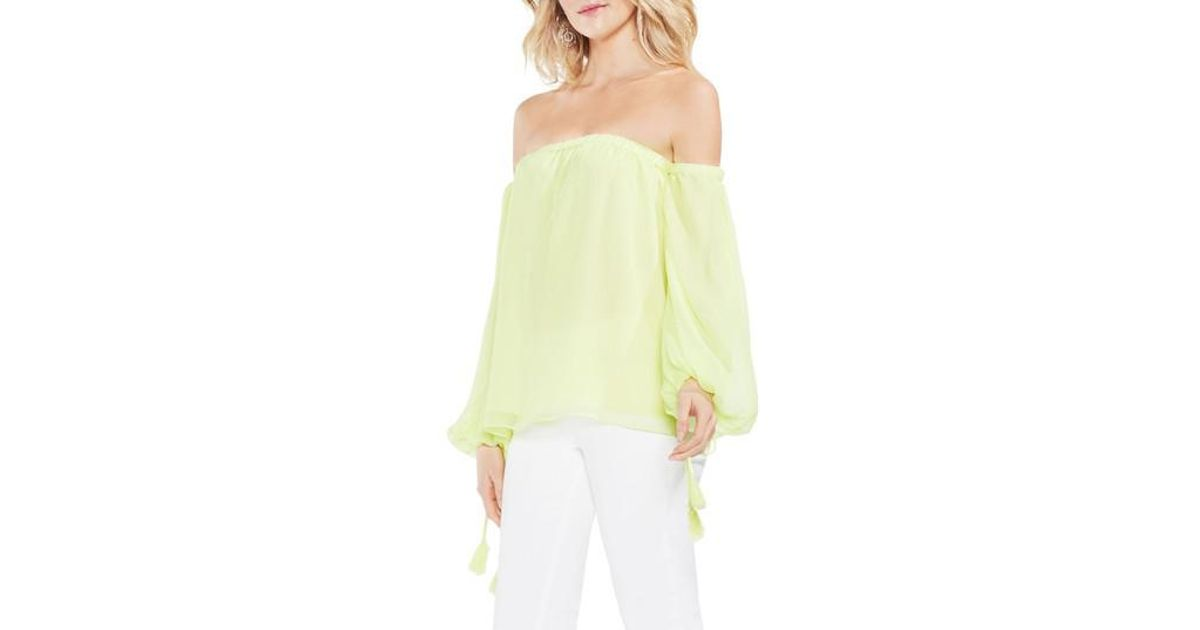 c30623e64fa0b Lyst - Vince Camuto Off The Shoulder Bubble Sleeve Blouse in Yellow