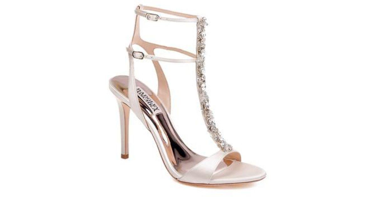 9acb55140539 Lyst - Badgley Mischka Hollow Embellished Metallic High-heel Sandals in  White - Save 24%