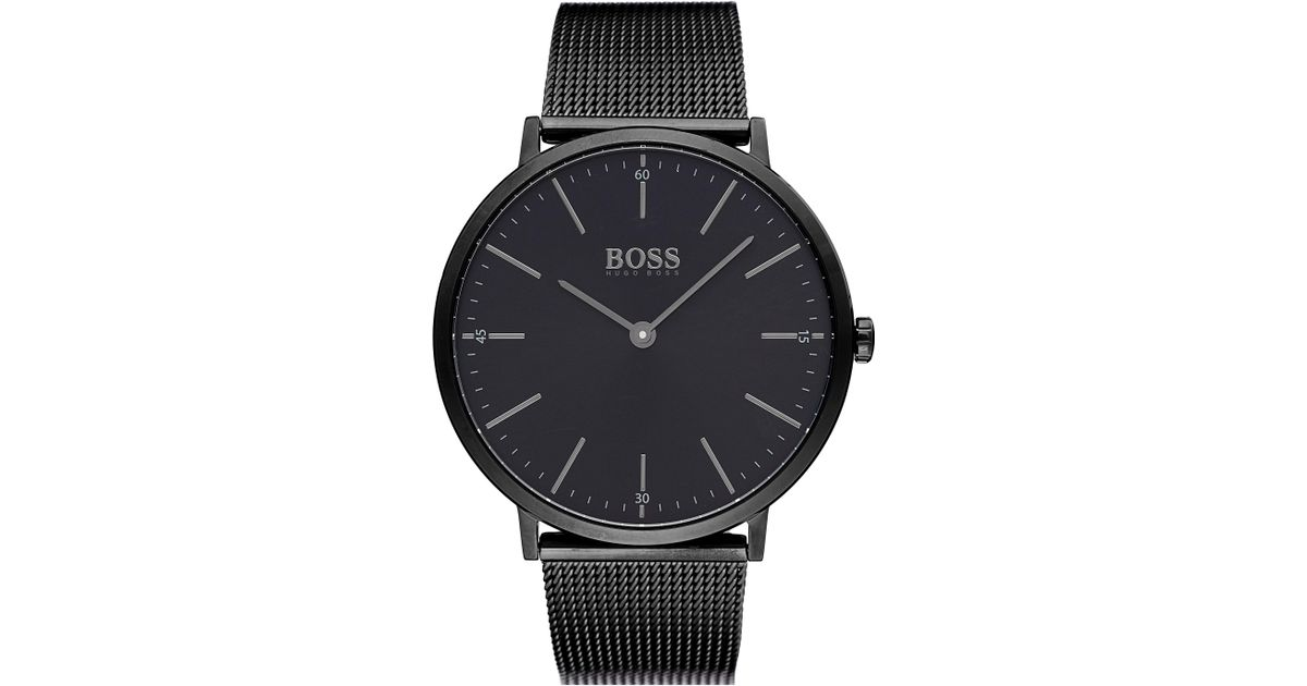 7df666617a6 Lyst - BOSS Horizon Mesh Strap Watch in Black for Men